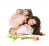 Family: mother, daughter and son. Family, mother, daughter and son, isolated on white background Stock Images