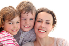 Family with mother, daughter and son smiling Royalty Free Stock Image