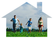Family Mother Father And Two Child Run On Field Stock Photo