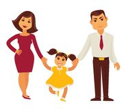 Family mother, father and child girl vector flat icon. Family vector flat design. Mother and father holding child girl daughter by hands and smile Stock Photo