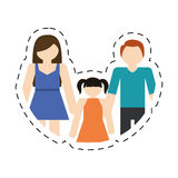 family mother father daughter together cut line Royalty Free Stock Photos