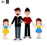 Family of mother, father and girl twins vector Royalty Free Stock Photo