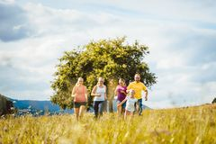 Family, mother, father and kids running for sport royalty free stock photo