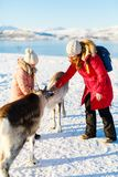Family with reindeer Stock Images