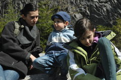 Family, mother with her daughter and son on a trip. The mountains. Royalty Free Stock Image