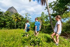 Family hiking. Family of mother and kids hiking on summer day at tropical island royalty free stock photography