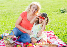 Family mother and little daughter play having Royalty Free Stock Image