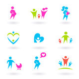 Family, Mother & Maternity Icons Isolated On White Royalty Free Stock Images