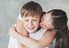 Family mother son happy together beautiful portrait Royalty Free Stock Photography