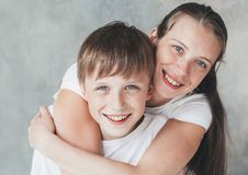 Family mother son happy together beautiful portrait Stock Photos