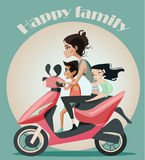 Family of mother and two kids on motorbike. Stock Photography
