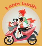 Family of mother and two kids on motorbike. Royalty Free Stock Image