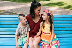 Family motherhood happy child walk park concept. Happy together Royalty Free Stock Images