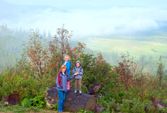 Family in mountain Stock Image