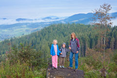 Family in mountain Royalty Free Stock Photos