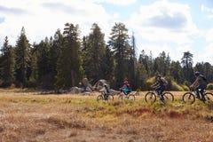 Family mountain biking in countryside, Big Bear, California Royalty Free Stock Photos