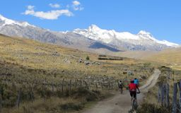 Family Mountain Biking in the Mountains in Peru Royalty Free Stock Photography
