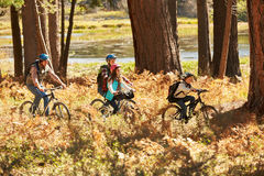 Family mountain biking past lake, Big Bear, California, USA stock image