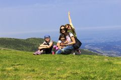 Family on the mountain Stock Photo