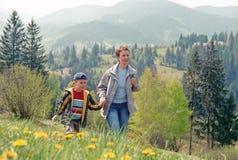 Family mountain hiking. Family country hiking in Carpathian mountain stock photography