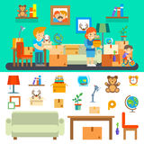 Family moves in new apartment. Changing house. Place residential property with sofa lamp desk globe and aquarium, vector illustration royalty free illustration