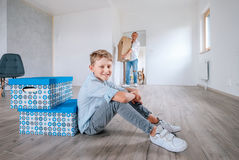 Family move in new apartment. Family moves in new apartment moment Royalty Free Stock Photos