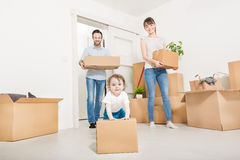 The family moves to a new apartment. Stock Photography