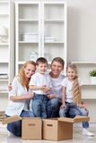 Family at moving Royalty Free Stock Photo