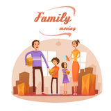 Family Moving In Cartoon Illustration Royalty Free Stock Photos