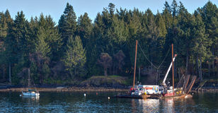 A family moving home on an old rusty barge near Victoria, BC Stock Photos