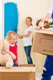 Family moving home and renovating house Stock Photo