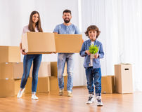 Family moving home stock image