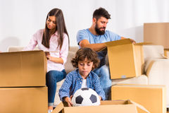 Family moving home royalty free stock photography