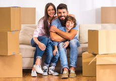 Family moving home Royalty Free Stock Images