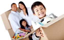 Family moving house Royalty Free Stock Photos