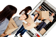 Family moving house Stock Images