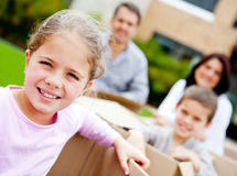 Family moving house Stock Image