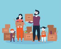 Family moving into a new house with boxes vector illustration