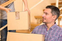 Family moving into a new house Stock Images