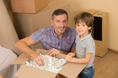 Family moving into a new house Stock Photography