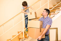 Family moving into a new house Royalty Free Stock Images