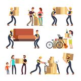 Family moving into new house. Man, woman and employees carrying boxes and heavy furniture vector characters set. Illustration of people with bag and box Royalty Free Stock Photo