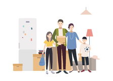 Family moving into a new house with things. Cartoon illustration in flat style. Royalty Free Stock Image