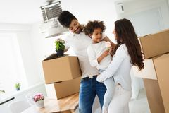 Family moving into their new home stock photography