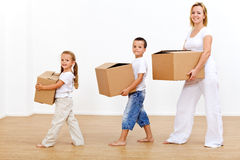 Family moving in to a new home stock images