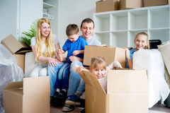 Family moving to a new home Stock Image