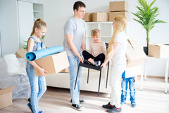 Family moving to a new home Royalty Free Stock Photo