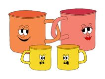 Family of mugs. Illustration of a family of mugs Stock Photo