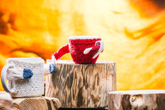 Family of mugs in sweaters Stock Photography