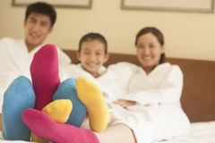 Family with Multi Colored Socks Royalty Free Stock Photo